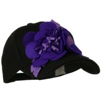 Ball Cap - Black Purple Wool Cap with Flowers