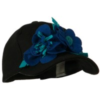 Ball Cap - Black Blue Wool Cap with Flowers