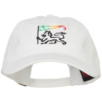 Embroidered Cap - White Rasta Lion Flag Embroidered Cap