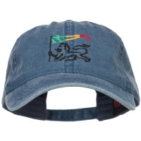 Embroidered Cap - Navy Rasta Lion Flag Embroidered Cap