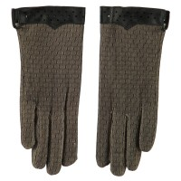 Glove - Natural Black Women's Lace Lined Texting Glove