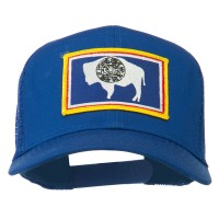 Embroidered Cap - Wyoming Flag Patched Mesh Cap