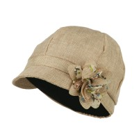 Newsboy - Beige Women's 6 Panel Cabbie Cap