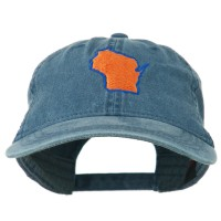 Embroidered Cap - Wisconsin Embroidered Washed Cap | Free Shipping | e4Hats.com