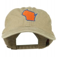 Embroidered Cap - Khaki Wisconsin Embroidered Washed Cap