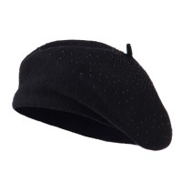 Beret - Black Wool Beret with Bead Spiral | Coupon Free | e4Hats.com