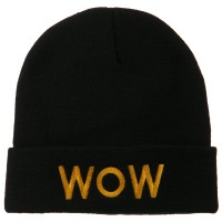 Beanie - Black Wow Embroidered Long Knit Beanie