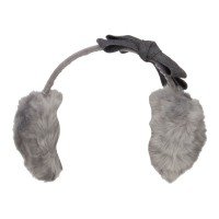 Warmer - Grey Faux Fur Felt Bow Ear Muff