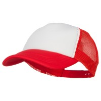 Ball Cap - White Red Youth Polyester Foam Trucker Cap