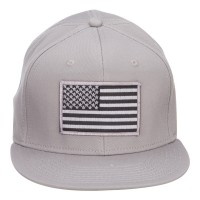 Embroidered Cap - Grey American Flag Snapback Cap