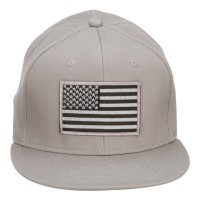 Embroidered Cap - Grey Grey American Flag Snapback Cap