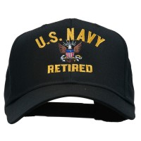 Embroidered Cap - Black US Navy Retired Embroidered Cap