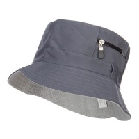 Bucket - Grey Zip Pocket Cotton Bucket Hat