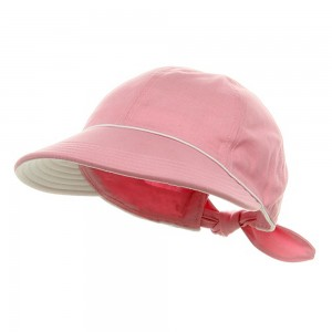 Outdoor - Pink Piping Decoration Canvas Cap | Coupon Free | e4Hats.com