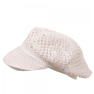 Newsboy - White Crocheted Newsboy Hat | Coupon Free | e4Hats.com