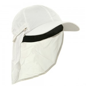 Flap Cap - White Zippered Micro Fiber Flap Cap | Coupon Free | e4Hats.com