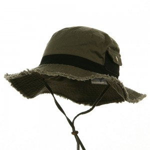 Outdoor - Olive Black Washed Frayed Bucket Hats | Coupon Free | e4Hats.com