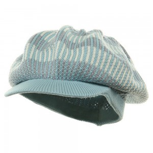 Beanie Visored - Grey White White Crocheted Rasta Beanie Visor | Coupon Free | e4Hats.com