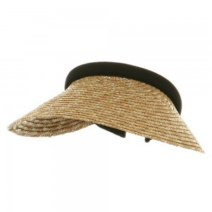 Visor - Natural Black Sewn Braid Wheat Straw Visors | Coupon Free | e4Hats.com