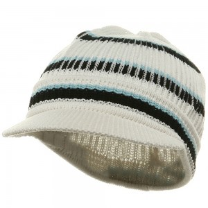 Beanie Visored - White Navy New Rasta Hat | Coupon Free | e4Hats.com