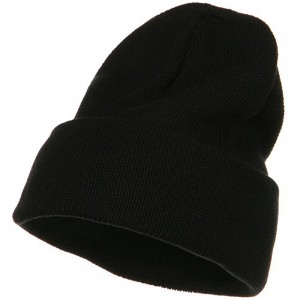Beanie - Black Cuff XL Size Cotton Beanie | Coupon Free | e4Hats.com