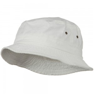 Bucket - White Big Size Washed Hat | Coupon Free | e4Hats.com