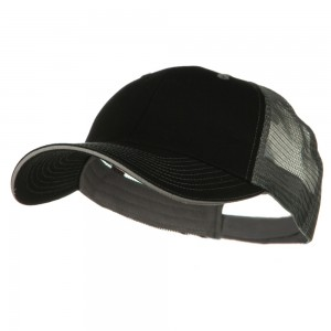 Ball Cap - Black Grey Big Size Washed Cotton Mesh Cap | Coupon Free | e4Hats.com
