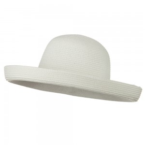 Dressy - White Sewn Braid Kettle Brim Hat | Coupon Free | e4Hats.com