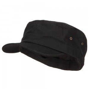 Cadet - Black Big Size Fitted Trendy Army Style Cap | Coupon Free | e4Hats.com
