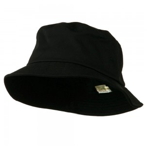 Bucket - Black Big Size Cotton Blend Bucket Hat | Coupon Free | e4Hats.com