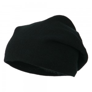 Beanie - Black Big Size Knit Slouch Beanie | Coupon Free | e4Hats.com