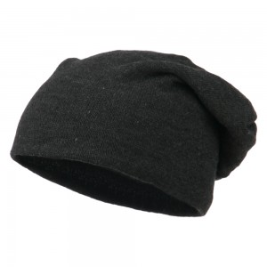 Beanie - Heather Black Big Size Knit Slouch Beanie | Coupon Free | e4Hats.com