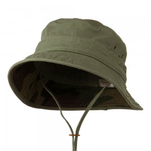 Outdoor - Olive Big Size Camo Washed Bucket Hat | Coupon Free | e4Hats.com