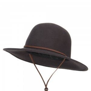 Western - Chocolate Round Crown Wool Felt Hat | Coupon Free | e4Hats.com