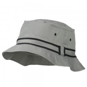 Bucket - Grey Black Striped B, Fisherman Bucket Hat | Coupon Free | e4Hats.com