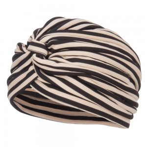Wrap - Tan Women's Striped Turban Hat | Coupon Free | e4Hats.com
