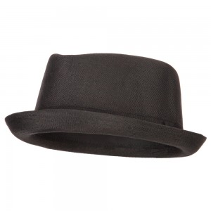 Fedora - Black Pork Pie Polyester Fedora Hat