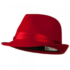 Fedora - Red Fedora with Pleated Satin Band | Coupon Free | e4Hats.com