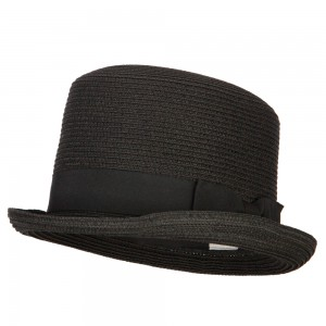 Fedora - Black Paper Straw Fedora Top Hat