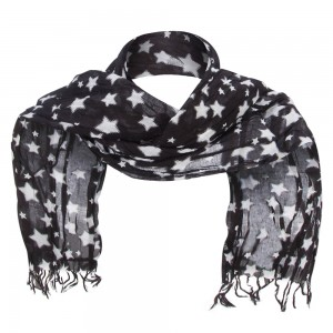 Scarf, Shawl - Black Cotton Scarf with Stars | Coupon Free | e4Hats.com