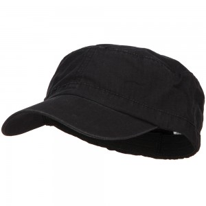 Cadet - Black Big Size Fitted Military Army Cap | Coupon Free | e4Hats.com