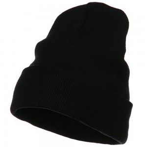 Beanie - Black Big Size Acrylic Long Beanies | Coupon Free | e4Hats.com