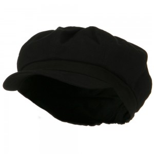 Newsboy - Black Cotton Elastic Big Size Cap | Coupon Free | e4Hats.com