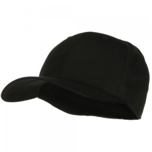 Ball Cap - Black XL Fitted Cotton Blend Cap