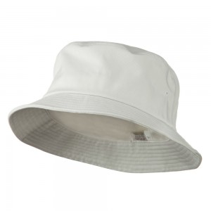 Bucket - White Big Size Cotton Blend Bucket Hat | Coupon Free | e4Hats.com