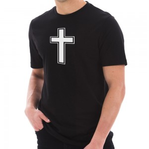 Graphic Shirt - Black Cross Symbol Graphic Design T-Shirt | Coupon Free | e4Hats.com