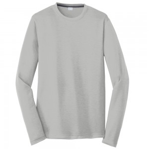 Shirt - Silver Men's Big Size Long Sleeve Poly T-Shirt | Coupon Free | e4Hats.com