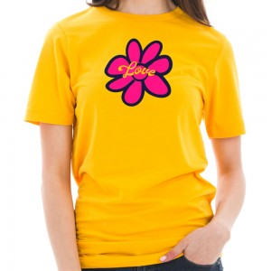 Graphic Shirt - Taxi Gold Hippie Flower Graphic Design T-Shirt | Coupon Free | e4Hats.com