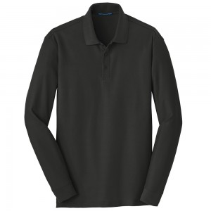 Shirt - Deep Black Men's Big Size Long Sleeve Polo Shirt | Coupon Free | e4Hats.com