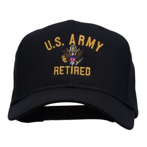 Embroidered Cap - Black US Army Retired Embroidered Cap | Coupon Free | e4Hats.com